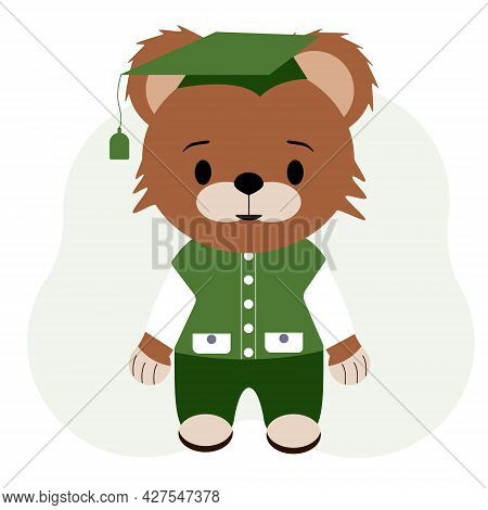 Pupil Bear Cub Illustration In Trousers, Vest And Shirt
