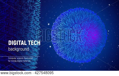 Wireframe Sphere In Technology Background Or Presentation Template. Abstract 3d Grid Element In Scie