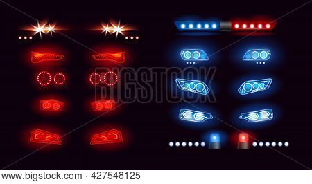 Car Headlights Bar, Led Automobile Light. Realistic Auto Lights Front View Collection With Glowing E