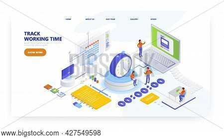 Track Working Time, Landing Page Design, Website Banner Vector Template. Time Tracking App. Workload
