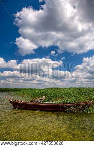 Svitiaz Lake, Shatsk National Natural Park, Volyn Region, Ukraine. The Shatskyi Lakes Group. Boat On