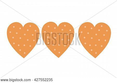 Heart Shaped Cookies On An Isolated Background. Tea Time. Dessert. Design Elements. Unhealthy Food.