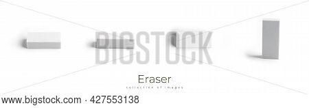 Eraser Isolated On White Background. Office Supply.