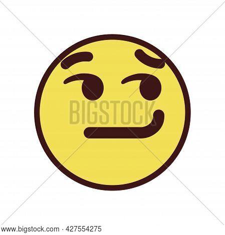 Isolated Smirk Emoji Face Icon Vector Illustration