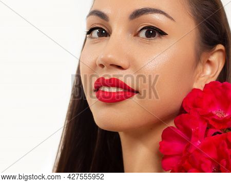 Beautiful Woman With Bright Make Up Eye With Sexy Pink Liner Makeup. Fashion Arrow Shape On Woman's