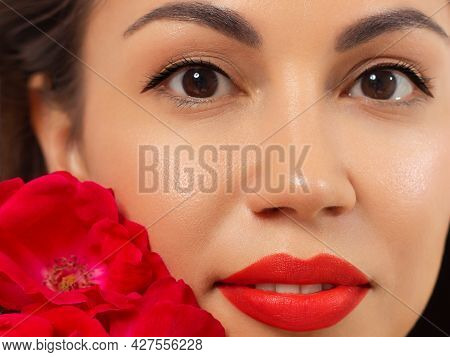 Beauty Face. Beautiful Woman With Sexy Full Pink Lips. Closeup Portrait Of Girl With Healthy Smooth