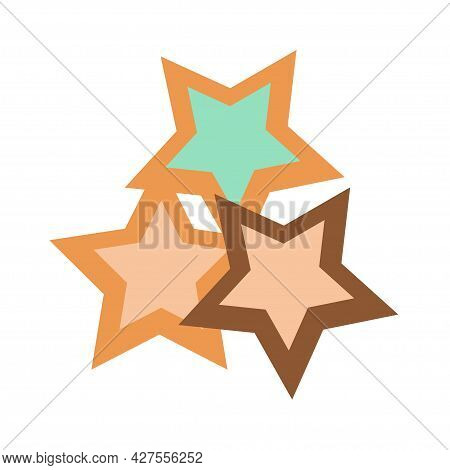 Star-shaped Cookies Stuffed With Early-colored Jam On An Isolated Background. Tea Time. Dessert. Des