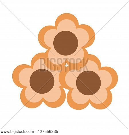 Flower Shaped Cookies With Chocolate Filling On An Isolated Background. Tea Time. Dessert. Design El