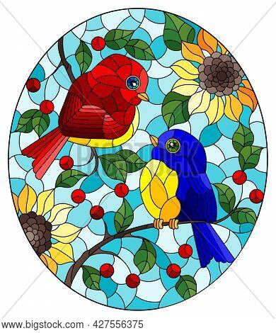 An Illustration In The Style Of A Stained Glass Window With A Pair Of Abstract Birds Sitting On Tree