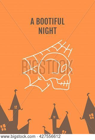 Halloween Horror Night Postcard With Linear Glyph Icon. Spooky Party. Greeting Card With Decorative