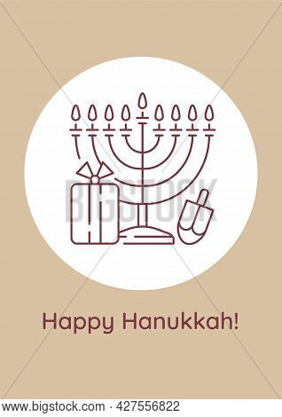 Greeting With Chanukah Event Postcard With Linear Glyph Icon. Greeting Card With Decorative Vector D