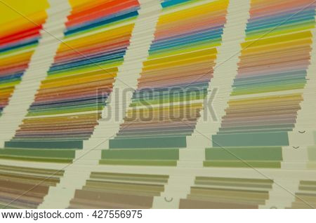Color guide spectrum swatch samples colorful on white background