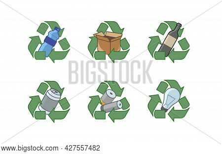 Colorful Isolated Illustrations Of The Recycling Of Various Materials On White Background. Waste Sor