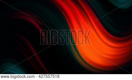 Motion Abstract Background Of Red, Green, Orange, And Blue Dark Colors. Motion. Bending Or Wavy Stri