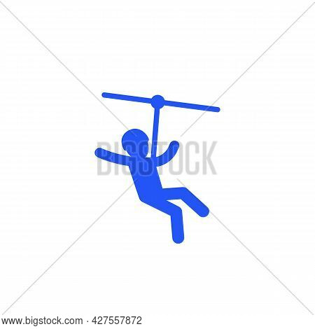 Zip Line Icon On White, Vector Sign
