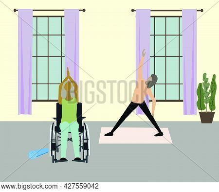 Senior Sporty Disabled Woman In Wheelchair Doing Yoga Indoors. Illustration.