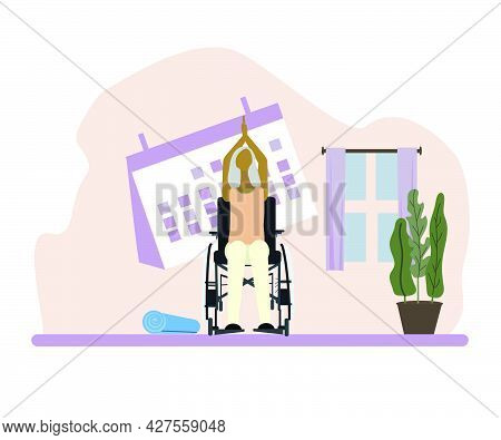 Disabled Old Woman In Wheelchair Practice Yoga Several Times A Week. Vector Illustration