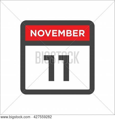 November 11 Calendar Icon W Day Of Month