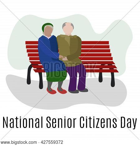 National Senior Citizens Day, Elderly People Sit On A Bench In The Park Vector Illustration