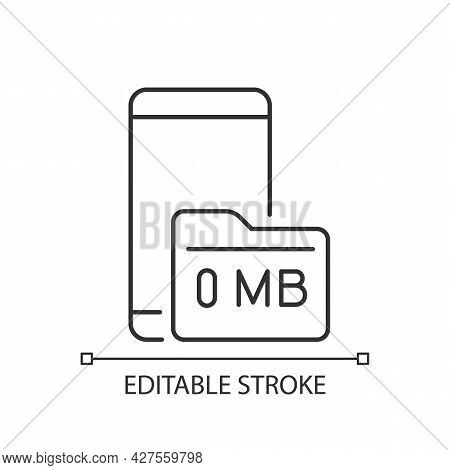 Full Storage Space Linear Icon. Smartphone And Memory Card. Zero Megabytes Left. Memory Capacity. Th