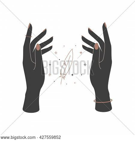Mystical Celestial Feather Between Woman Hands. Spiritual Elegant Quill For Branding Name Logo. Esot