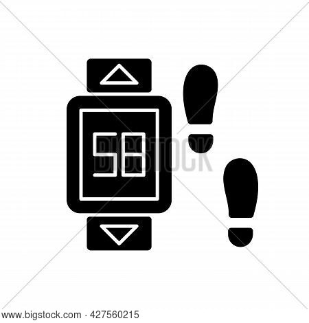 Online Fitness Pedometer Device Black Glyph Icon. Walking Style. Personal Step And Motion Detection.