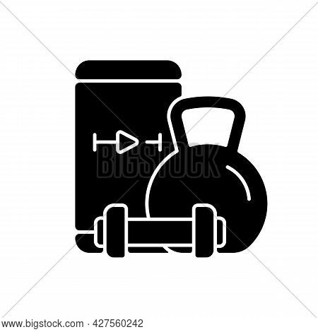 Online Weightlifting Exercises Training Black Glyph Icon. Sence Wellbeing Improvement, Stamina And W
