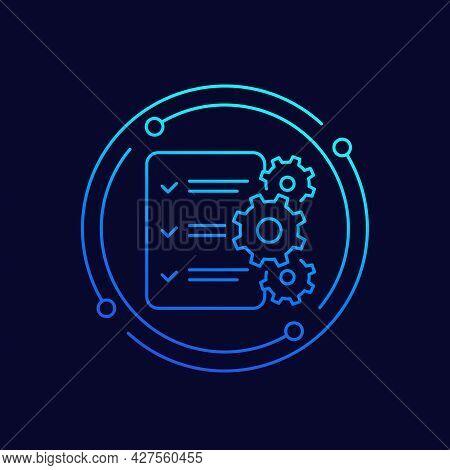 Procedures Line Icon With A Checklist, Vector