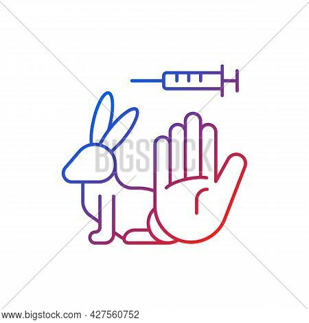 No Rabbit Testing Gradient Linear Vector Icon. Ban For Harmful Clinical Trials On Hares. Alternative