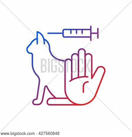 No Cat Testing Gradient Linear Vector Icon. Stop Experiments On Animal. Alternative To Clinical Tria