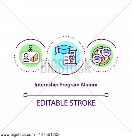 Internship Program Alumni Concept Icon. Interning Abroad Abstract Idea Thin Line Illustration. Under