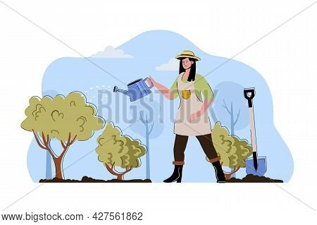 Crop Care Concept. Farmer Woman Watering Plants And Bushes At Garden Situation. Gardening, Farming A