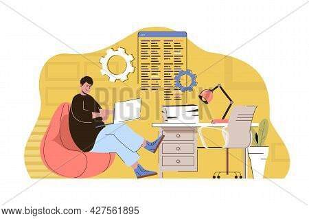 Culture Coworking Concept. Employee Or Freelancer Working On Laptop In Office Situation. Workplace O