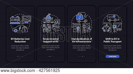 Ev Main Trends Onboarding Mobile App Page Screen. Electric Car Standardization Walkthrough 4 Steps G