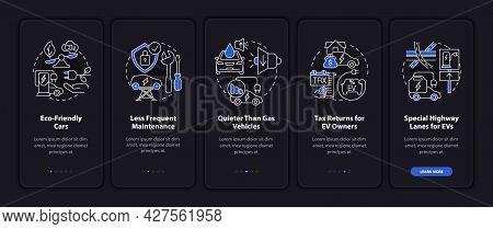 Eco-friendly Car Onboarding Mobile App Page Screen. Ev Maintenance Walkthrough 5 Steps Graphic Instr