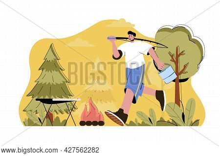 Fishing And Hiking Concept. Man Fishing With Rod And Resting In Campsite Situation. Outdoor Activiti