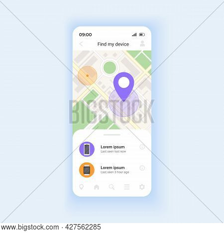Showing Phone Location Smartphone Interface Vector Template. Device Locking On Distance. Mobile App