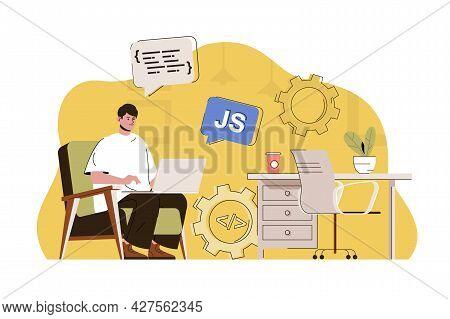 Front-end Developer Concept. Man Creates Web Page, Javascript Programming Situation. Development Use