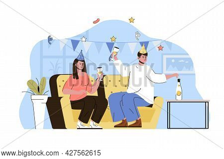 House Party Concept. Couple Celebrating Birthday, Drinking And Having Fun Situation. Festive Event,