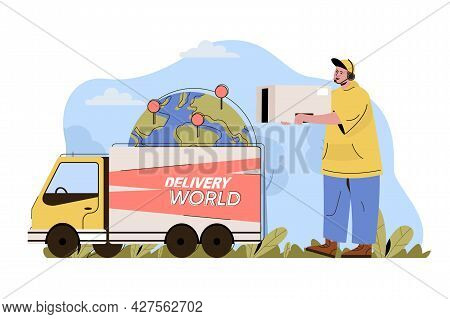 International Delivery Concept. Courier Carries Box, Truck Delivers Parcels World Situation. Global
