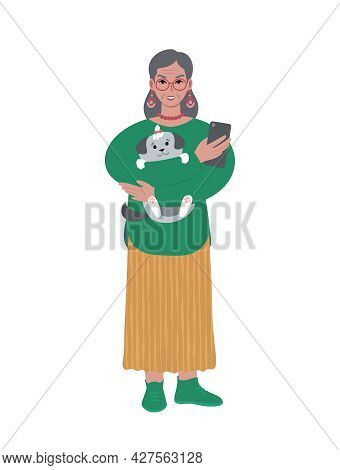Senior Caucasian Modern Woman With Pet Dog And Mobile Phone.