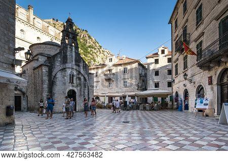 Kotor, Montenegro - 29 June, 2019: The Church Of Sveti Luka (saint Luke) In Kotor On The Square Piaz