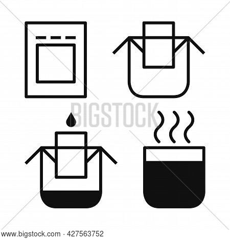 Drip Bag Coffee Icons Set. Hanging Ear Drip Coffee Filter Paper Bag Brewing Instruction. Step By Ste
