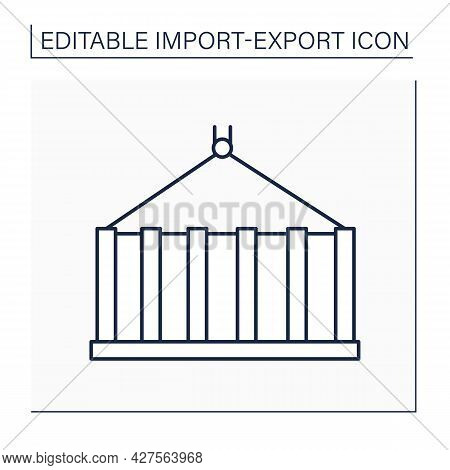 Container Line Icon. Large Metal Box. Box With Standard Design And Size Used For Goods Transportatio