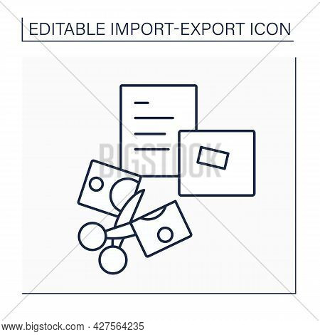 Declare Line Icon. Customs Declaration. Goods Detailed List. Import And Export Concept. Isolated Vec