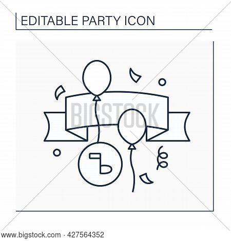 Banner Line Icon. Long Strip Of Cloth. Slogan Or Design With Greeting For Special Occasion.party Con