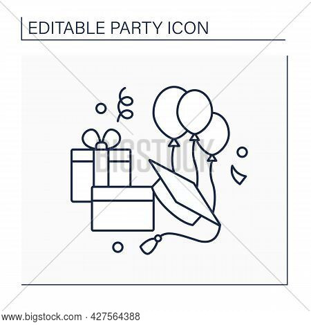 Graduation Party Line Icon. Ceremony Rewards School Or College Degrees And Diplomas. Gift-giving Cel