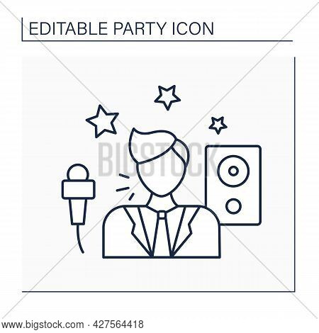 Entertainer Line Icon. Person Who Entertains People. Singer, Dancer, Or Comedian In Celebrations.cel