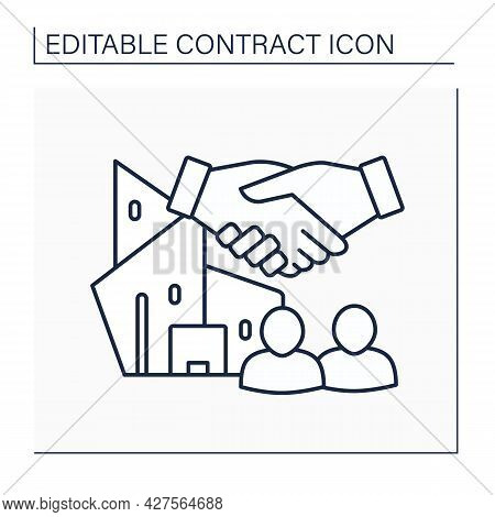 Joint Venture Line Icon. Commercial Enterprise Undertaken Jointly By Two Or More Parties.collaborati