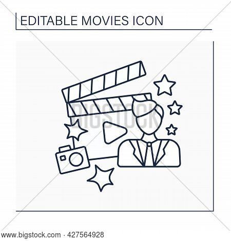 Movie Star Line Icon. Celebrity. Actor Famous For Playing Leading Roles In Films. Super Star. Movie